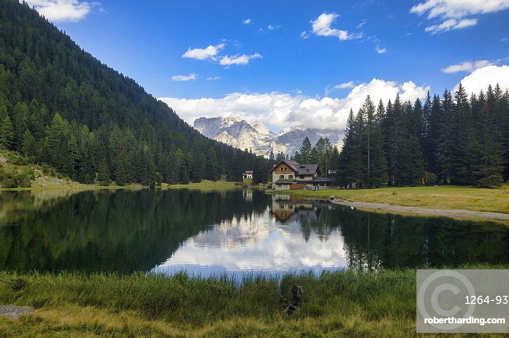 Lake Nambino and Brenta mountain range, Rendena Valley, Trentino, Italy, Europe