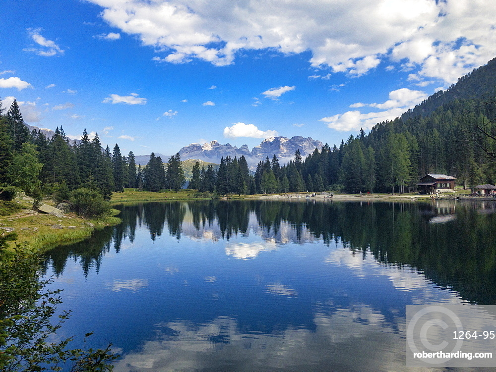 Reflections, Lake Nambino and Brenta mountain range, Rendena Valley, Trentino, Italy, Europe
