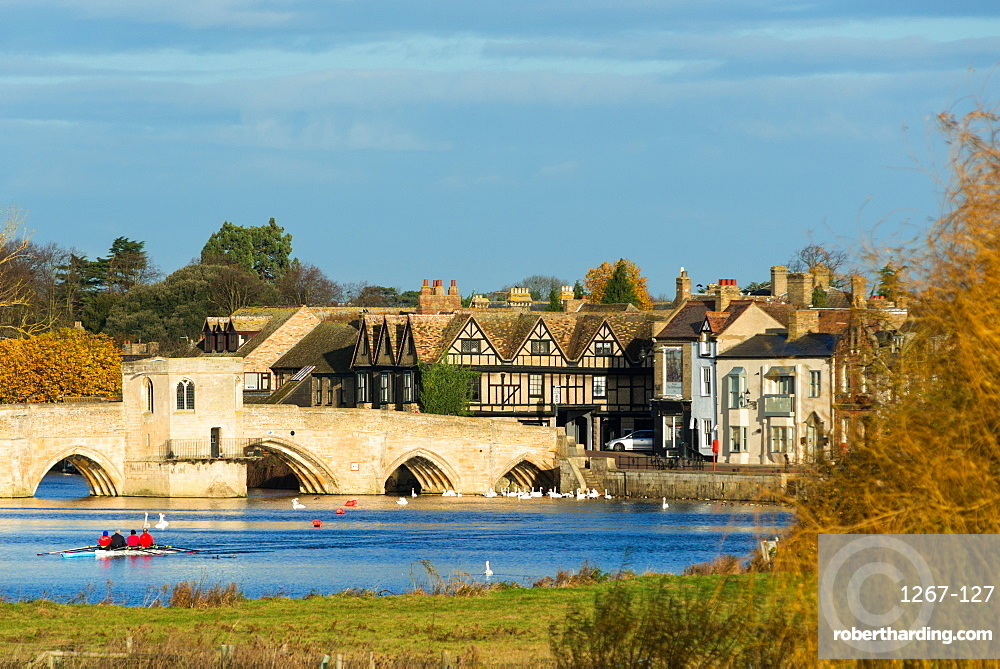 River Great Ouse with the medieval St. Leger Chapel Bridge at St. Ives, Cambridgeshire, England, United Kingdom, Europe