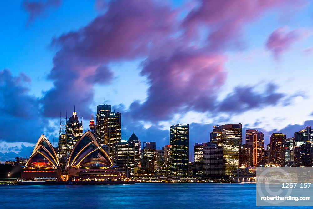 Sydney city skyline and harbour including the Opera House at dusk, Sydney, New South Wales, Australia, Pacific