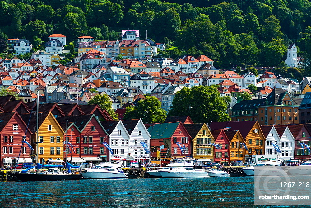 Historic Hanseatic buildings on wharf by Vagen harbour, Bryggen (Tyskebryggen), UNESCO World Heritage Site, Bergen, Hordaland, Norway, Scandinavia, Europe