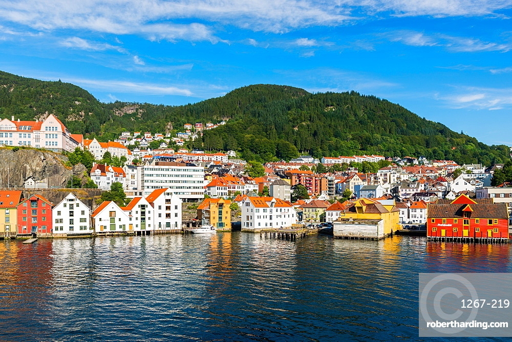 Bergen waterfront and skyline seen from the sea. Hordaland, Norway.