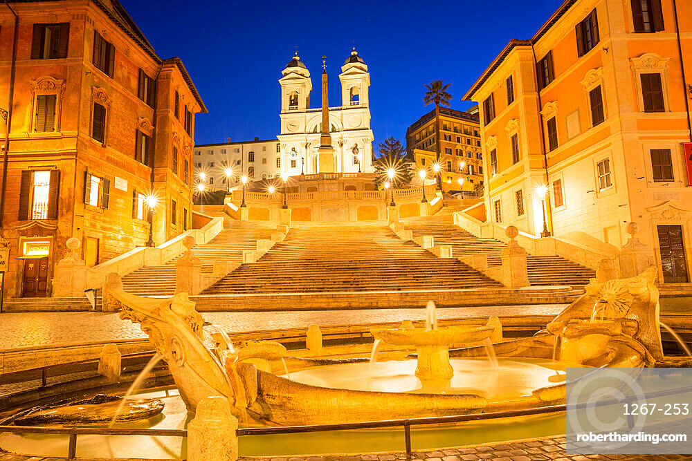 Fontana della Barcaccia in front of the Spanish Steps at Piazza di Spagna at dawn, Rome, Lazio, Italy, Europe