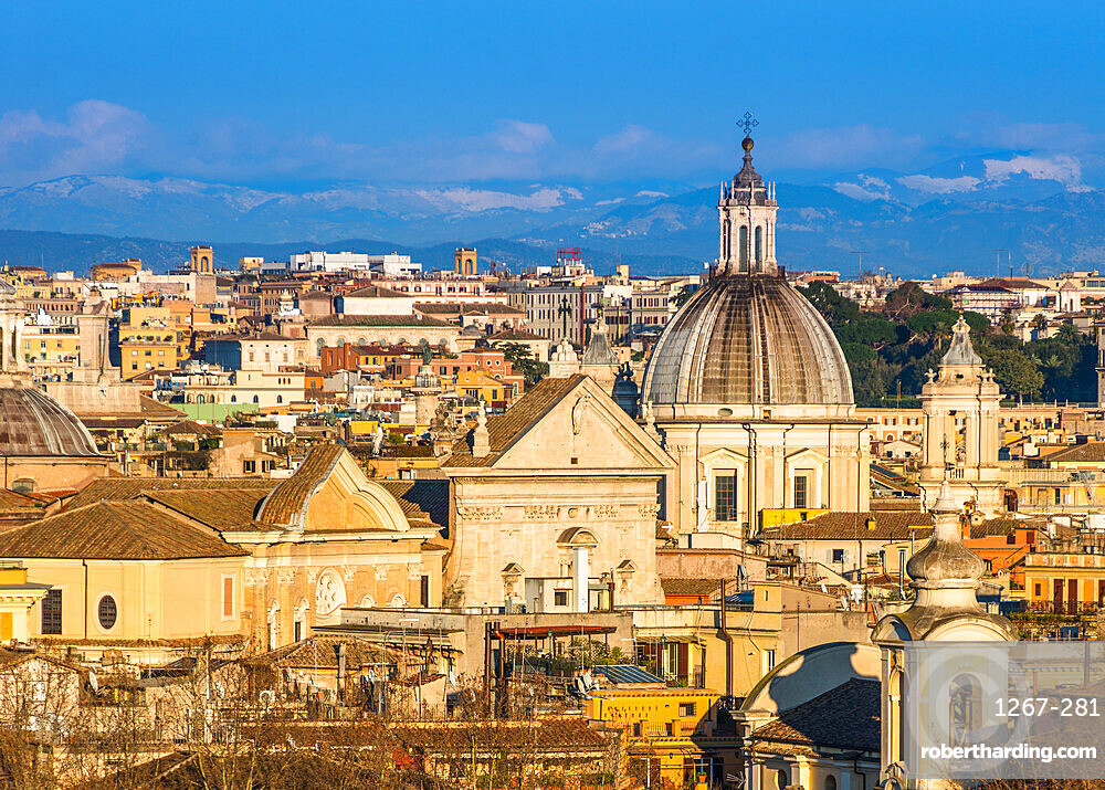 Historic Rome city skyline with domes and spires seen from Janiculum Terrace. Rome, Lazio, Italy.