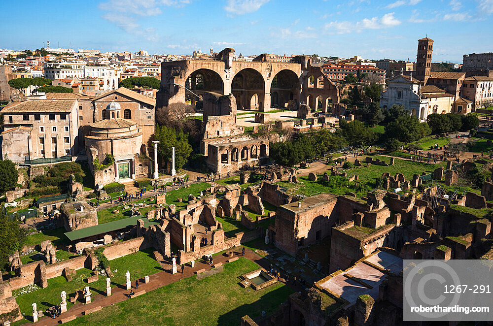 Ancient Rome city skyline from Palatine Hill, Rome, Lazio, Italy, Europe