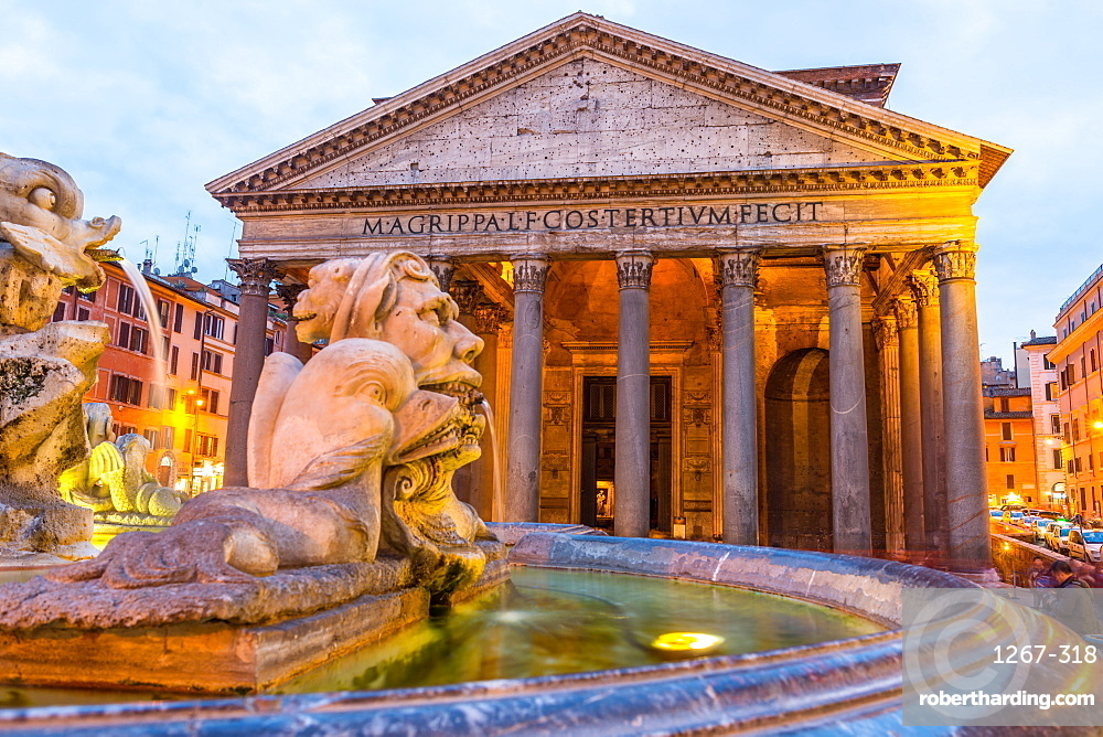 Fontana del Pantheon at dusk, with the Pantheon, UNESCO World Heritage Site, on the Piazza della Rotonda, Rome, Lazio, Italy, Europe