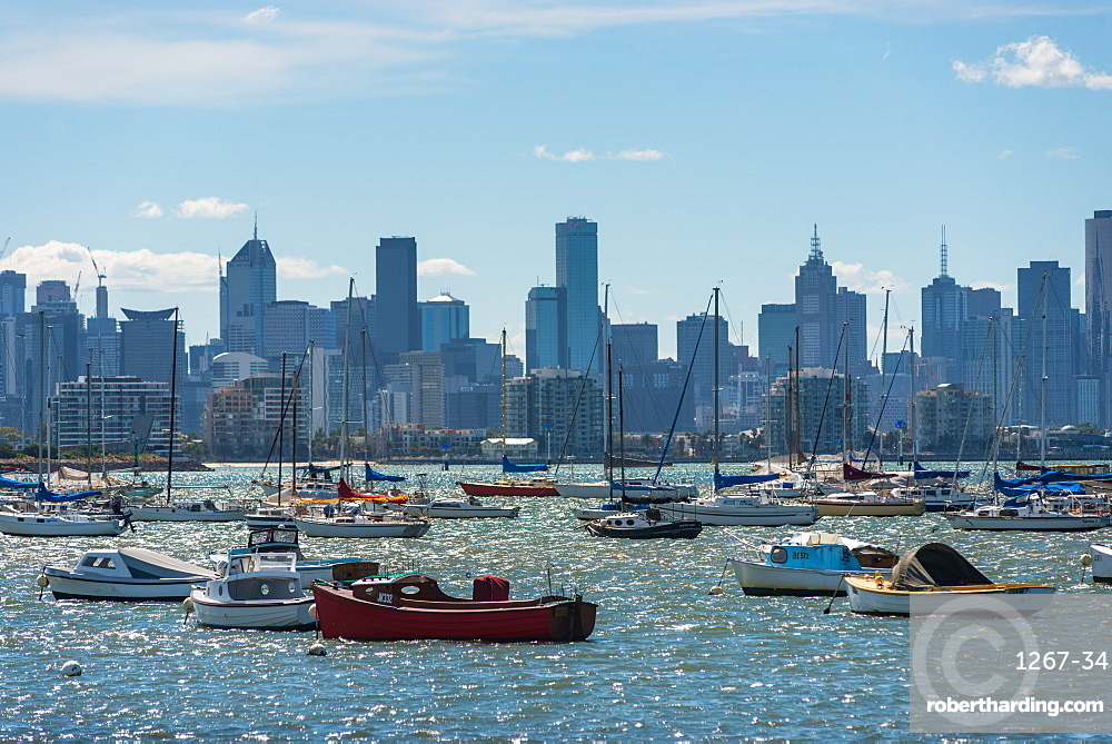 Views of Melbourne city skyline seen from Williamstown.