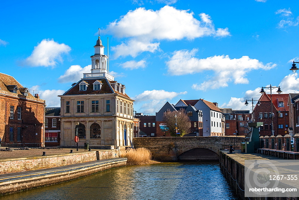 The Customs House on the historic Purfleet Quay in Kings Lynn, Norfolk, England, United Kingdom, Europe