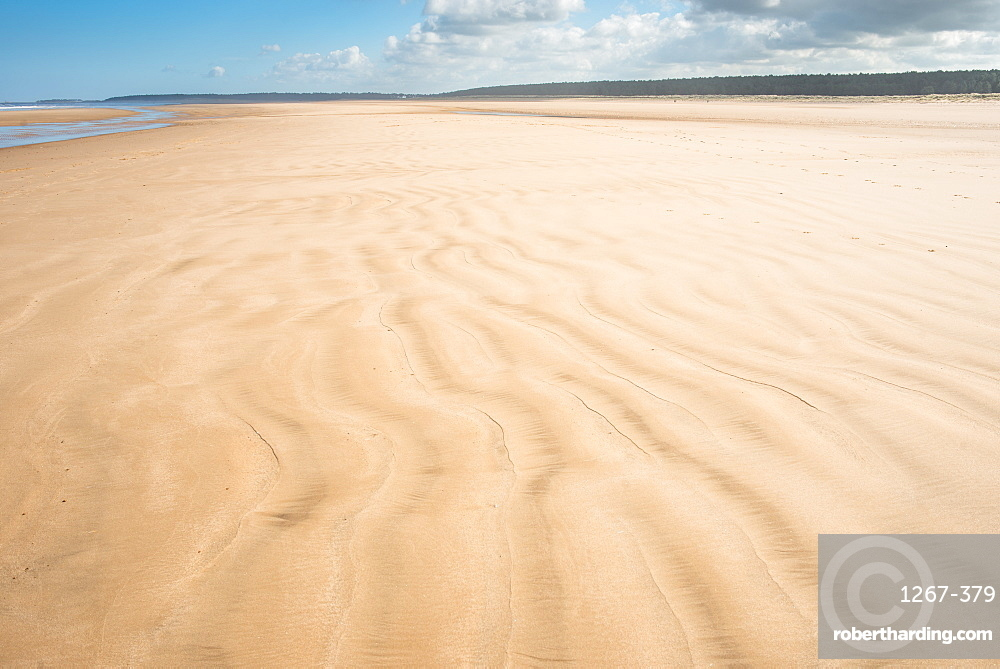 Sandy beach at Holkham Bay on the Norfolk Coast Path National Trail, Norfolk, East Anglia, England, United Kingdom, Europe