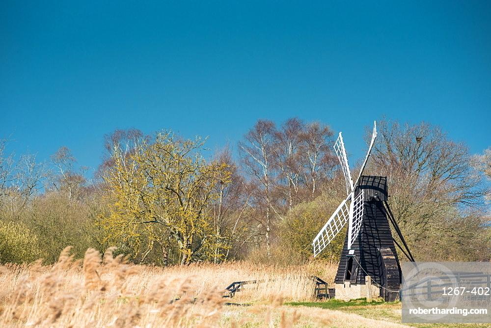 The last surviving wooden windpump in the Fens at Wicken Fen National Nature Reserve, Cambridgeshire, East Anglia, England, UK.