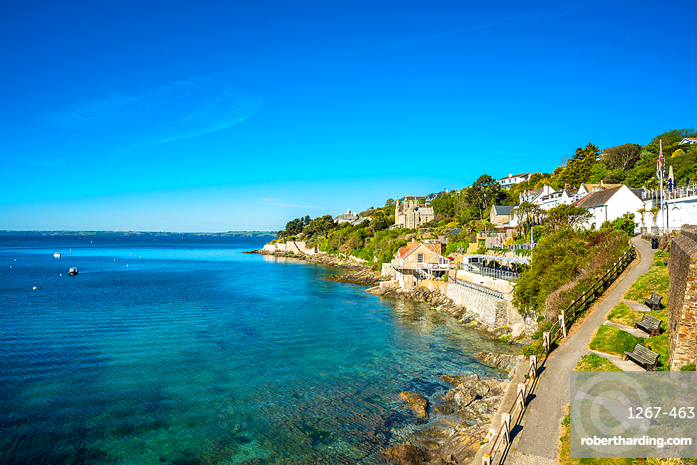The seafront at the scenic village of St Mawes, Cornwall, England, United Kingdom, Europe.