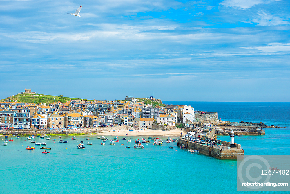 Panoramic views of St Ives in Cornwall, England, UK.
