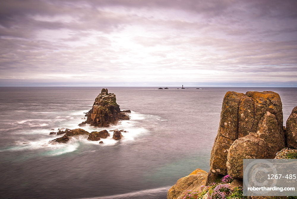 The rock formation known as The Armed Knight at Lands End in Cornwall, England, UK.