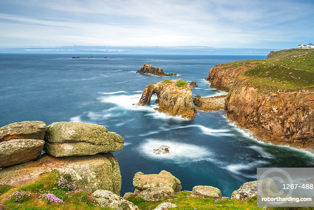 Enys Dodnan and the Armed Knight rock formations at Lands End, Cornwall, England, United Kingdom, Europe.