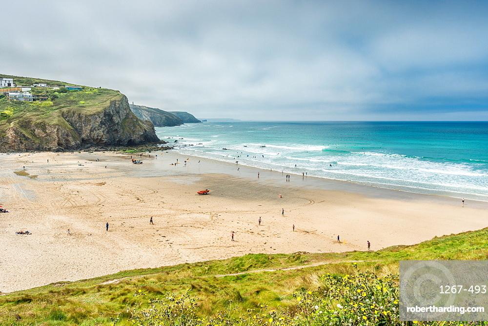 Porthtowan beach from the cliffs above, on the west Cornwall coast, England, UK.