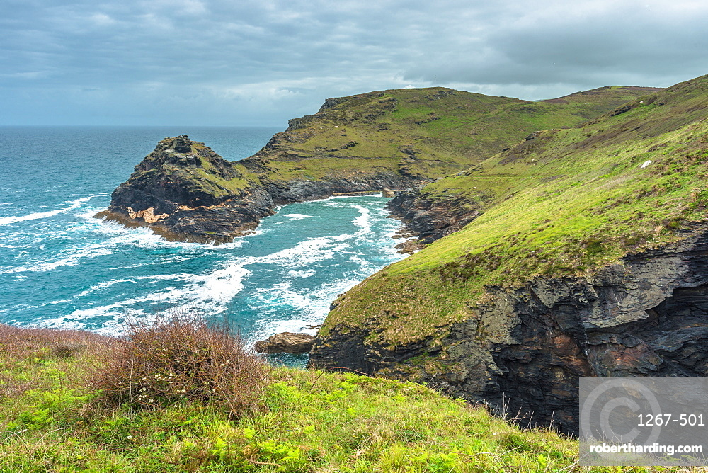 Coastal views including Penally Point from the South West coast path on the Atlantic coast of Cornwall, England, UK.