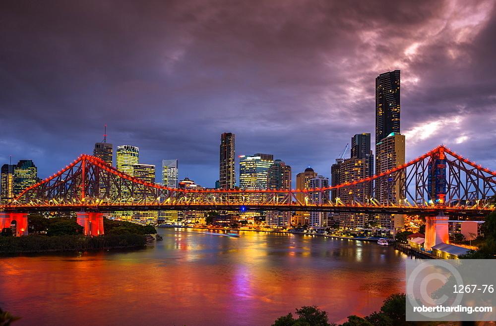 Story Bridge lit up after dark, Brisbane, Queensland, Australia, Pacific