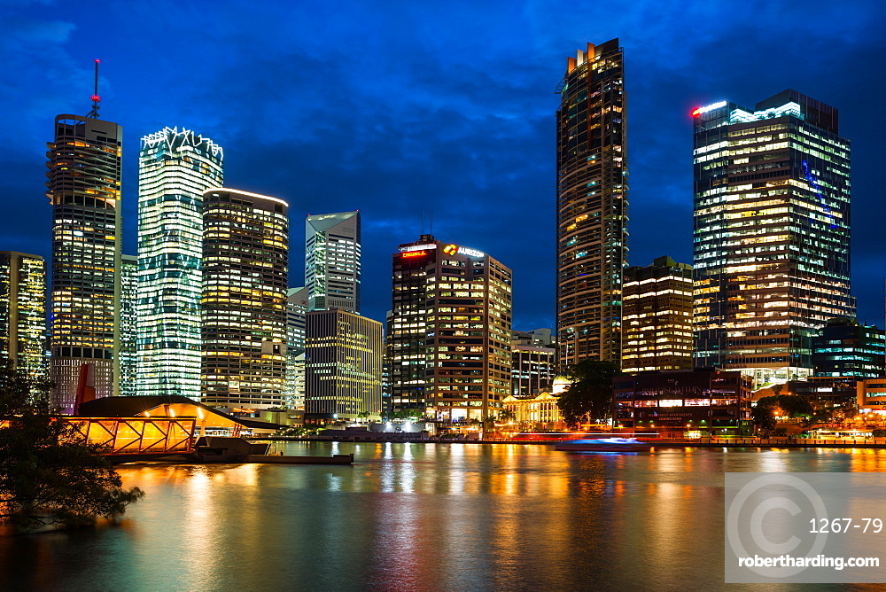 Brisbane city skyline after dark, Brisbane, Queensland, Australia, Pacific