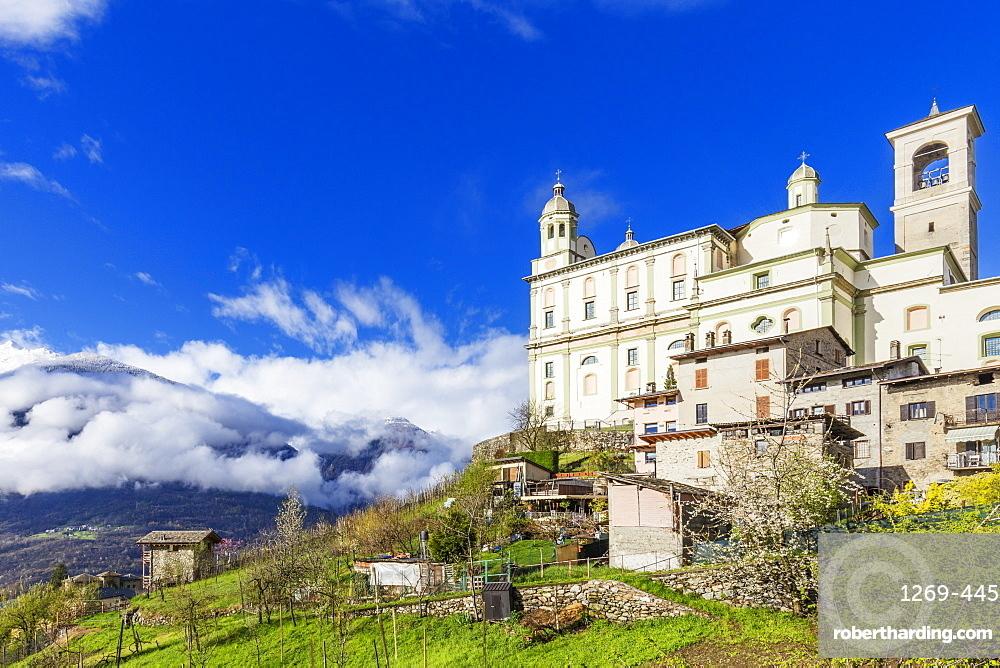 Church of Santa casa in spring, Tresivio, Valtellina, Sondrio province, Italy, Europe
