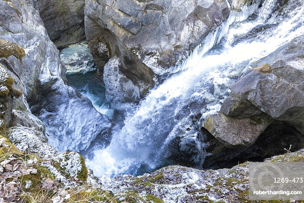 Waterfall of Mallero Gorge in winter, Valmalenco, Valtellina, Lombardy, Italy, Europe