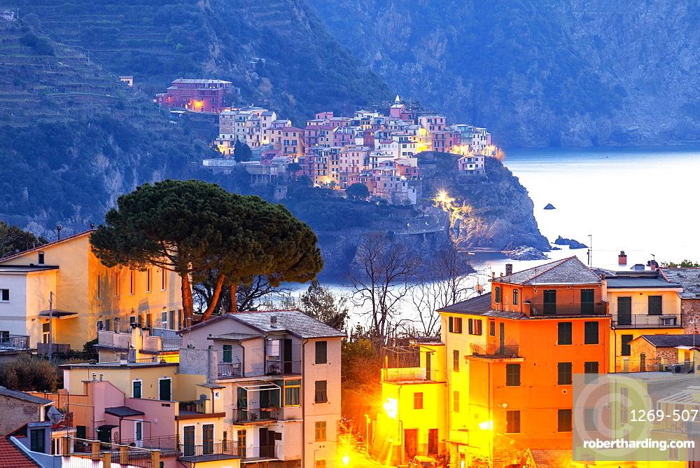 Village of Manarola with houses of Corniglia in the foreground, Cinque Terre, UNESCO World Heritage Site, Liguria, Italy, Europe