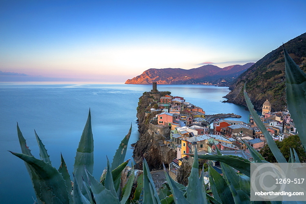 Sunrise on the village of Vernazza from above, Cinque Terre, UNESCO World Heritage Site, Liguria, Italy, Europe