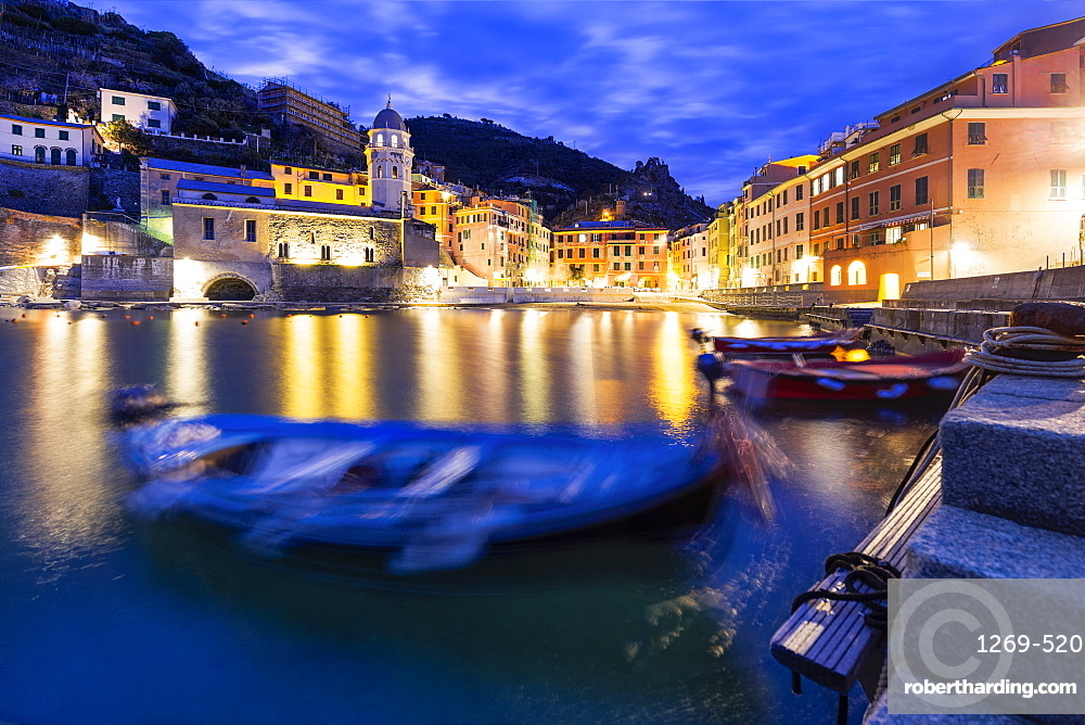 Moored boats in the port of Vernazza at dusk, Cinque Terre, UNESCO World Heritage Site, Liguria, Italy, Europe