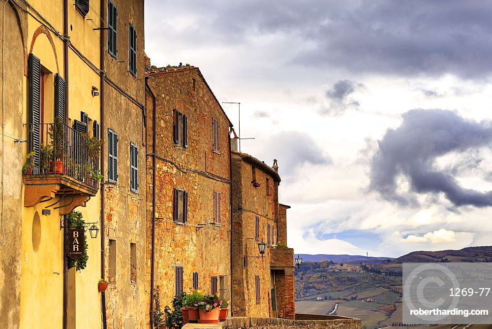 Typical houses of Pienza, Val d'Orcia, Siena province, Tuscany, Italy, Europe