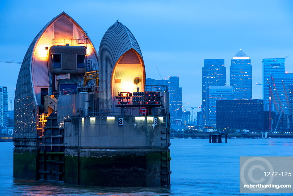 Thames Barrier on River Thames at dusk, Woolwich, London, England, United Kingdom, Europe
