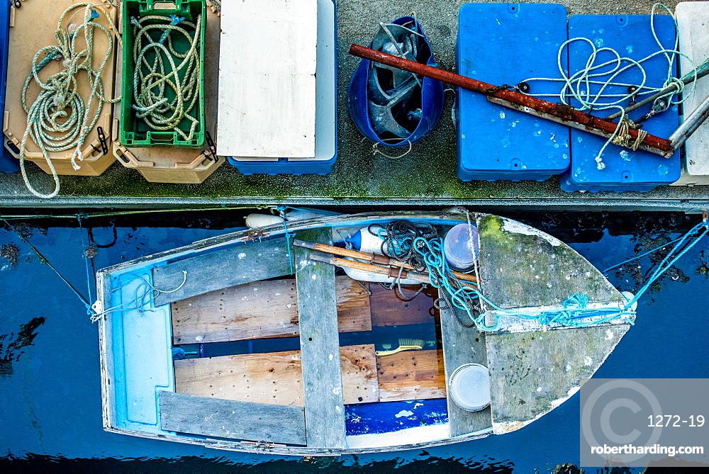 Docked fishing boat, Guernsey, Channel Islands, United Kingdom, Europe