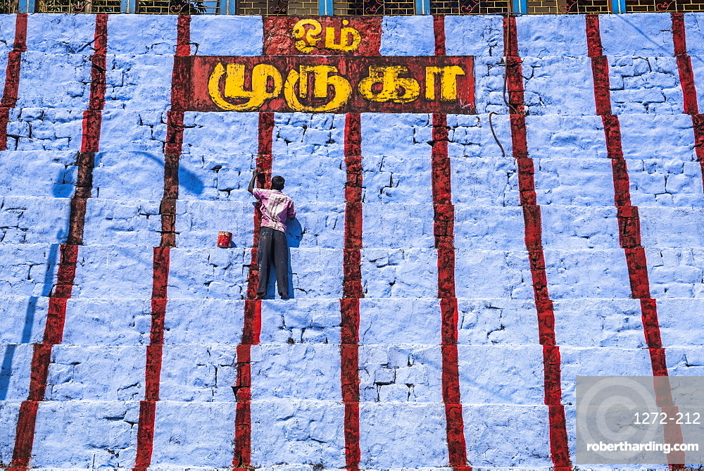 Repainting Sri Subramaniya Swamy Hindu Temple blue, Munnar, Western Ghats Mountains, Kerala, India, Asia