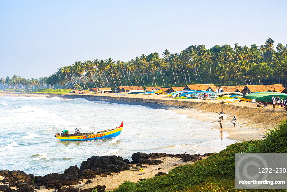 Kappil Beach fishing village, Varkala, Kerala, India, Asia
