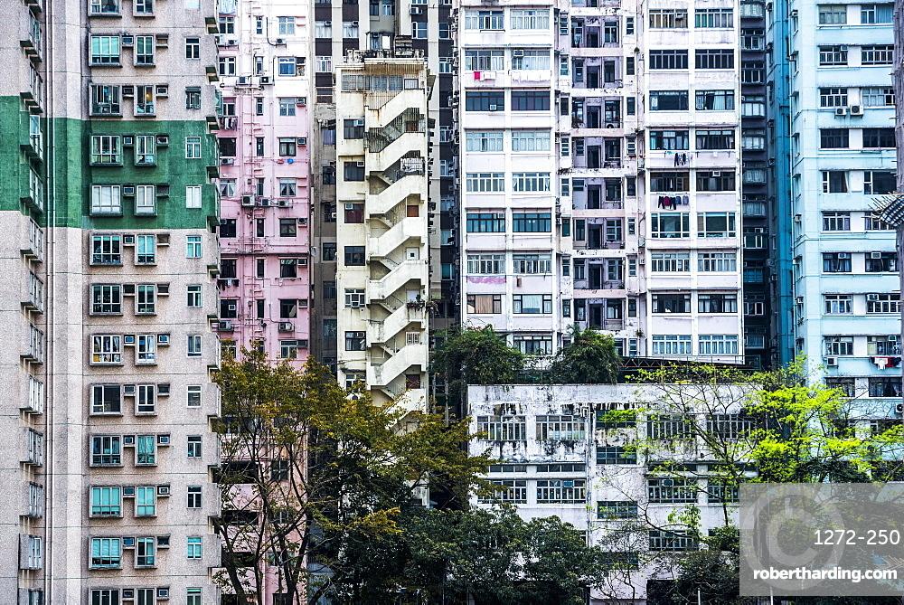 Flats in an apartment block, Hong Kong Island, Hong Kong, China, Asia