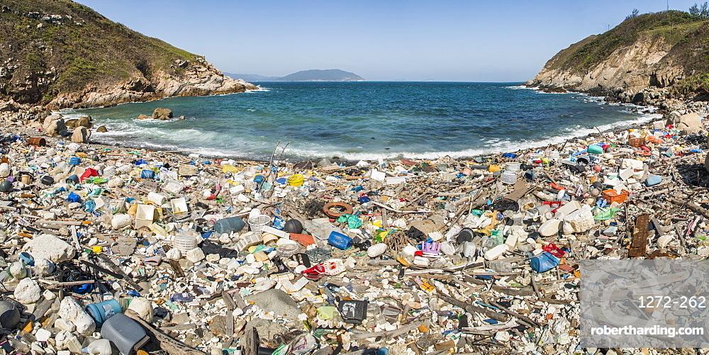 Beach covered in plastic rubbish, Lap Sap Wan, New Territories, Hong Kong, China, Asia