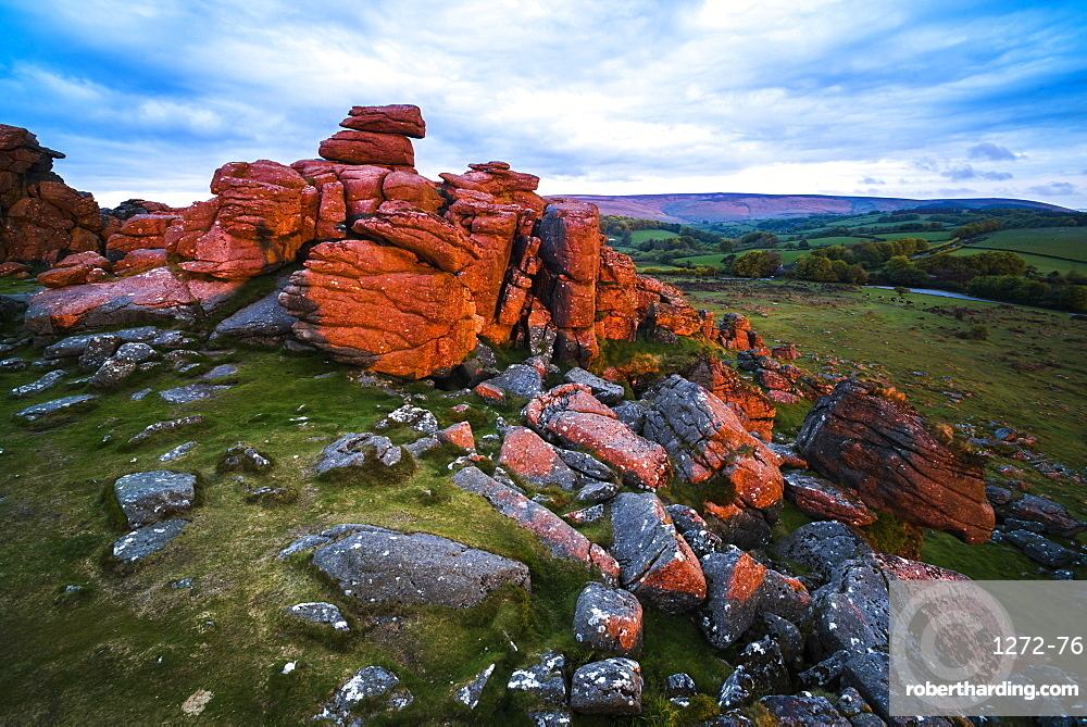 Tor at sunrise, Dartmoor National Park, Devon, England, United Kingdom, Europe