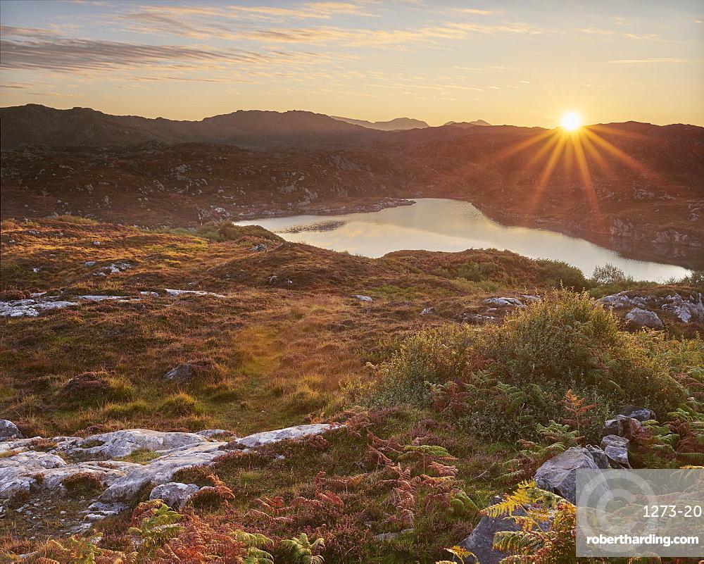 Sunrise, Maiden Loch, Assynt, Highlands, Scotland, United Kingdom, Europe