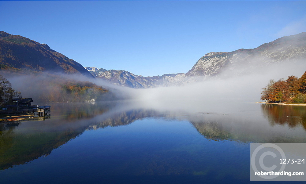 Clearing fog, Lake Bohinj, Triglav National Park, Slovenia, Europe