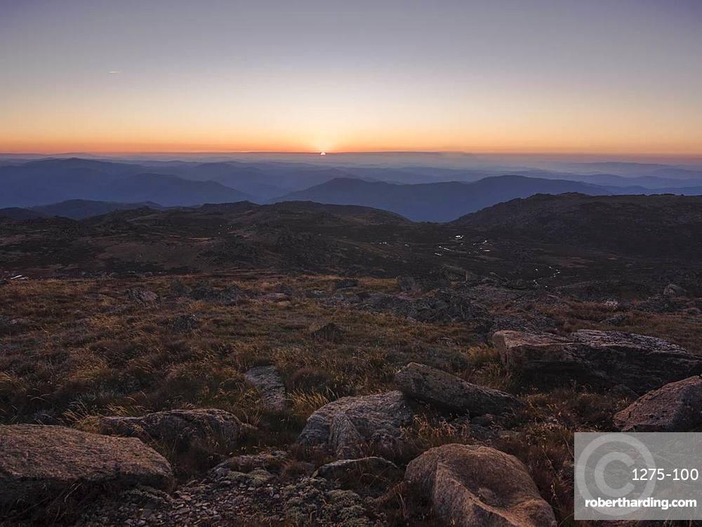 Mountain landscape from Mount Kosciuszko, the highest peak of Australia, New South Wales, Australia, Pacific