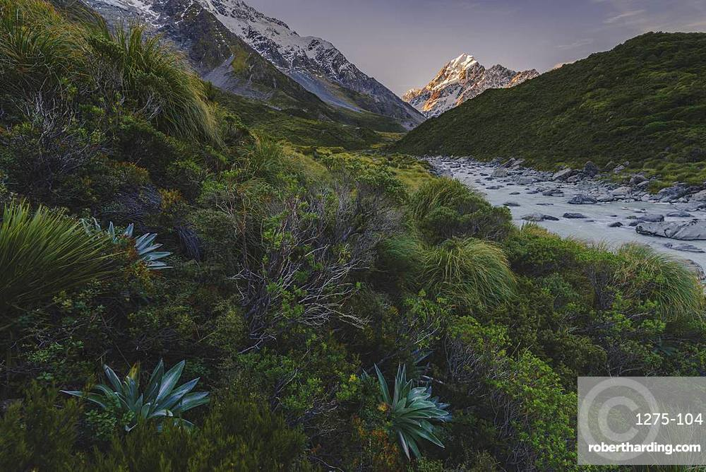 Mount Cook landscape from the Hooker Valley, Mount Cook National Park, UNESCO World Heritage Site, Southern Alps, South Island, New Zealand, Pacific