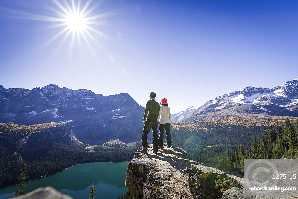 Hikers looking at the view of Alpine mountains and Lake O'Hara from the Alpine circuit trail, Yoho National Park, UNESCO World Heritage Site, Canadian Rockies, British Columbia, Canada, North America