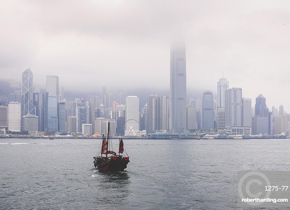 Ferry boat crossing the Victoria Harbor from Tsin Sha Tsui to Central Hong Kong, Hong Kong SAR, China