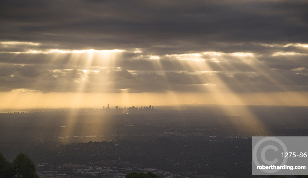 Dramatic view of Melbourne city from the Dandenong Mountain ranges, Victoria, Australia, Pacific