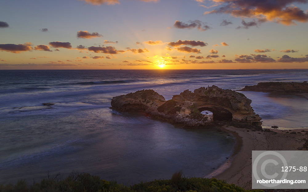Coast sunset landscape viewed from the London Bridge lookout, in the Mornington Peninsula National Park, Victoria, Australia, Pacific