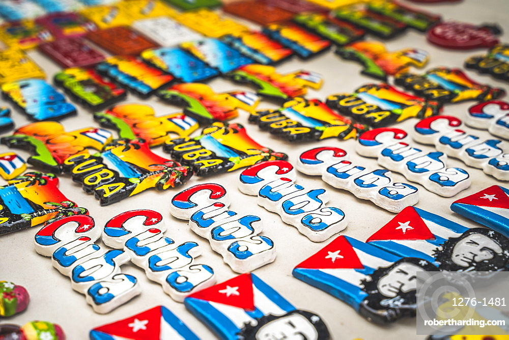 Colourful souvenirs for sale in a market in La Habana, Havana, Cuba, West Indies, Caribbean, Central America