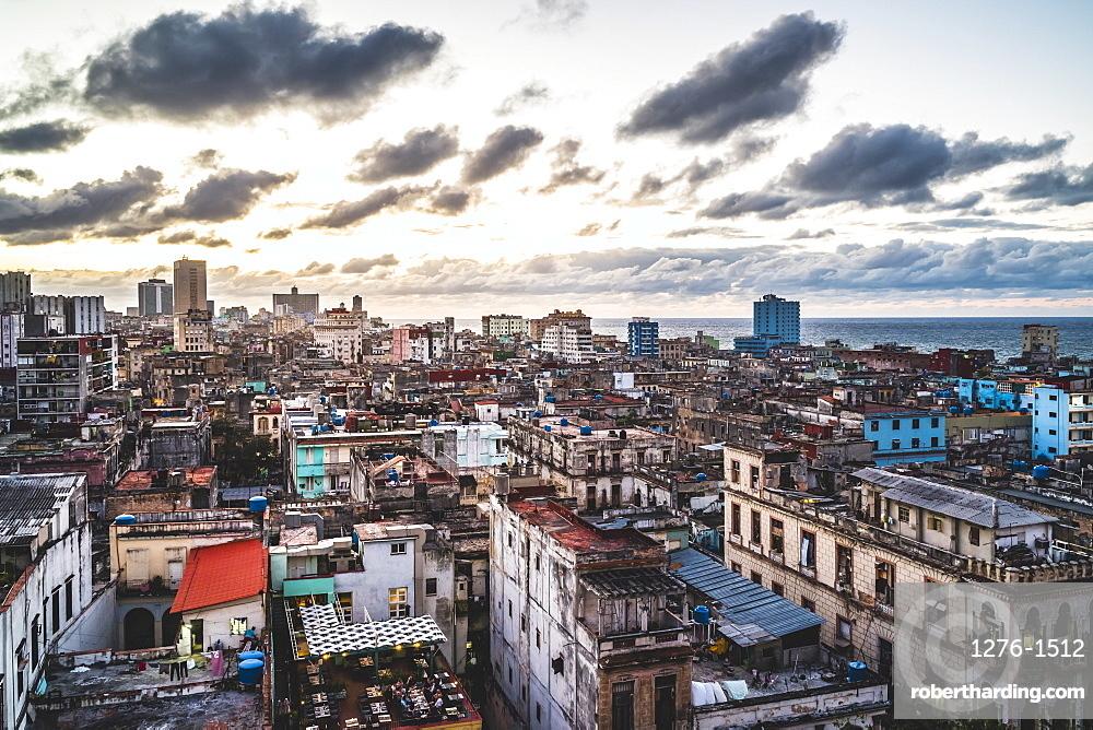 La Habana skyline at sunset, Havana, Cuba, West Indies, Caribbean, Central America