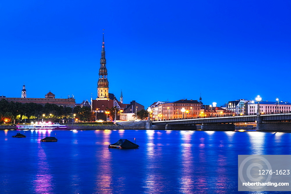 Riga's skyline at night, Old Town, UNESCO World Heritage Site, Riga, Latvia, Europe