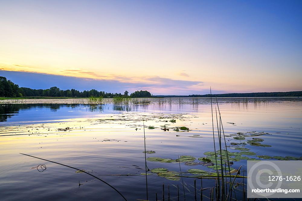 Sunset over Juglas lake, Latvian nature, Riga, Latvia, Europe