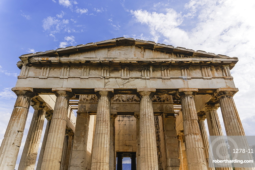 View of Temple of Hephaestus at the Ancient Agora of Athens, Greece, Europe
