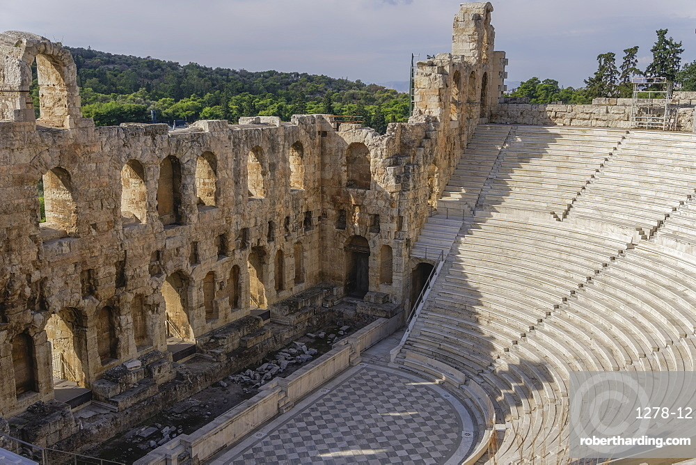 Athens, Greece day view of Odeon of Herodes Atticus.