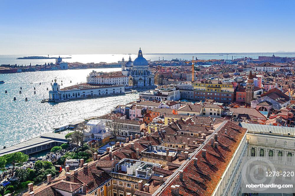 Venice Italy Dorsoduro with Punta della Dogana & Santa Maria della Salute at the Venetian lagoon, seen form St Marks Campanile.